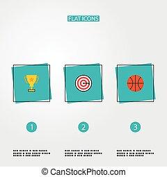 outro, app, teia, estilo, condicão física, dardos, design., campeão, basquetebol, seu, jogo, logotipo, copo, móvel, símbolos, apartamento, ícones
