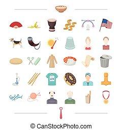 outro, atelier, américa, viking, ícone, caricatura, teia, tempo, jogo, collection., style., aparência, ícones