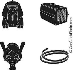 outro, massagem, pretas, animal, recipiente, macarronada, facial, ícone, esfinge, teia, jogo, collection., style., ícones