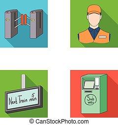 outro, público, , ícone, teia, transporte, passagem, jogo, collection., elétrico, style., mecanismo, ícones, apartamento