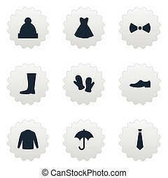 outro, vetorial, guarda-roupa, wellies, simples, icons., ...