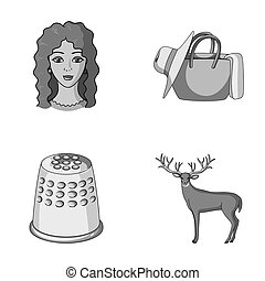 outro, viagem, animal, ícone, caricatura, jogo, collection., atelier, style., monocromático, ícones, profissão