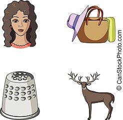 outro, viagem, animal, ícone, caricatura, teia, jogo, collection., atelier, style., ícones, profissão
