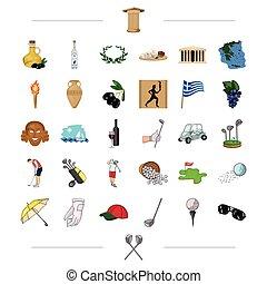 outro, viagem, pretas, história, ícone, teia, jogo, golfe, collection., style., grécia, desporto, jogo, ícones