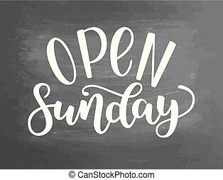 outros, lugares, illustration., abertos, modernos, isolado, fundo, domingo, vetorial, chalkboard, tinta, handlettering, lojas, caligrafia, lettering., público, textured, escova