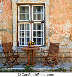 Outside dinner table composition - Two wooden chair and ...