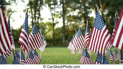Outside in sunlight, passing through rows of slow waving US American flags blowing in the wind. Patriotic concept for USA holidays, 4th of July, Memorial day, or Veteran's day.