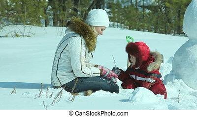 Outside in winter
