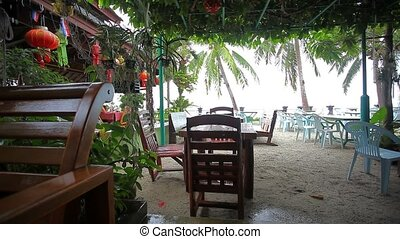 Outside restaurant at the beach in rain time. Koh Samui...