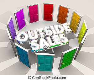 Outside Sales Selling Doors Finding New Customers 3d Illustration