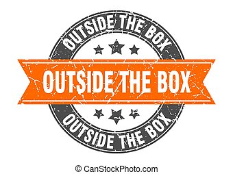 outside the box round stamp with ribbon. label sign