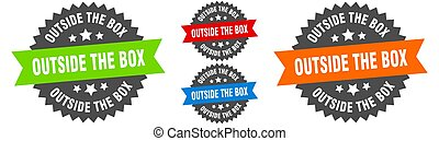 outside the box sign. round ribbon label set. Seal