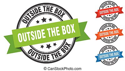 outside the box stamp. round band sign set. label