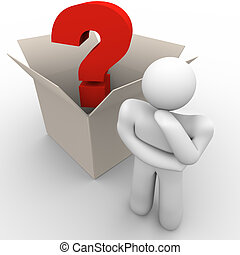 Outside the Box Thinking - A man ponders a question with ...