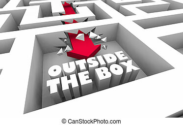 Outside the Box Thinking Unique Creative Maze 3d Illustration