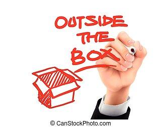 outside the box written by 3d hand - outside the box written...
