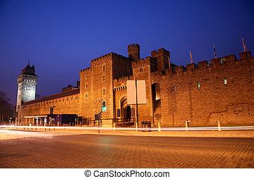 Outside view of Cardiff Castle in Cardiff, Wales.