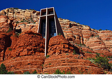 Outside view of the Chapel of the Holy Cross in Sedona, Arizona. Designed by a student of Frank Lloyd Wright.
