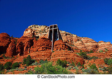 Outside view of the Chapel of the Holy Cross in Sedona, Arizona. Designed by a student of Frank Lloyd Wright