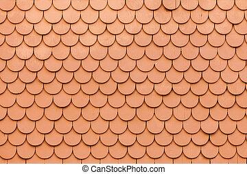Outside wall wooden shingles siding pattern - Pattern of...
