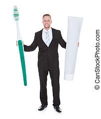 outsized, ビジネス, 大きい, 歯ブラシ, 保有物, 微笑の人