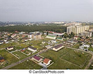 outskirts, ciudad, construido, bosque, alrededor, arriba, ...