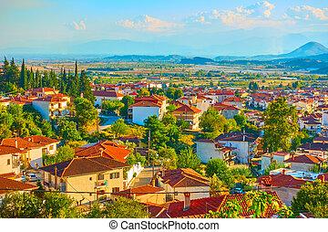 Kalambaka town in Thessaly - Outskirts of Kalambaka town in ...