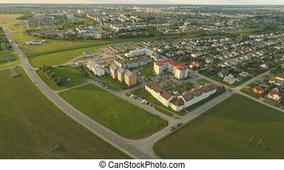Outskirts of the city of Lida from a bird's-eye view. Belarus.