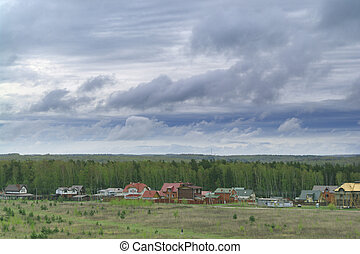 outskirts of the town on a cloudy day