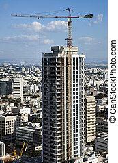 outskirts., ville, usage, intended, bureau, très, bâtiment, construction, tel-aviv, gratte-ciel, fond, activité, grand, sien