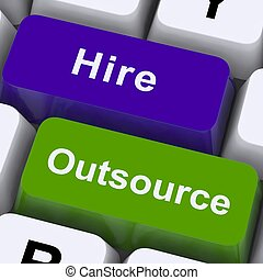 outsource, 租用, 鑰匙, 顯示, subcontracting, 以及, 自由職業者