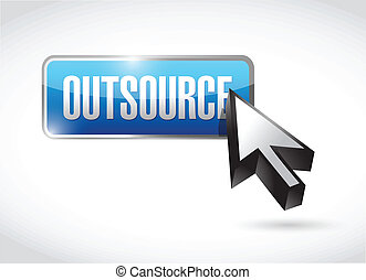 outsource button illustration design over a white background