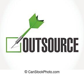 outsource, checkmark, ilustração, dardo