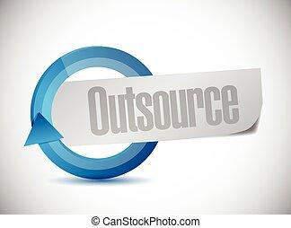 outsource, ciclo, señal, ilustración, diseño