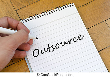 Outsource concept on notebook