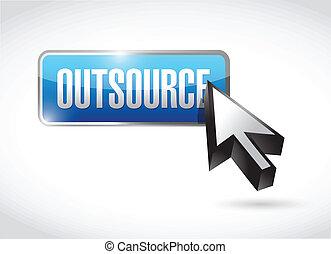 outsource, conception, bouton, illustration