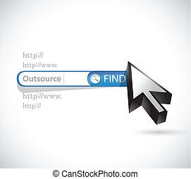 outsource, design, durchsuchung, abbildung, online