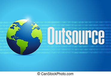 outsource globe sign illustration design over a blue binary...