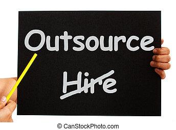 outsource, merkzettel, ausstellung, subcontracting, und,...