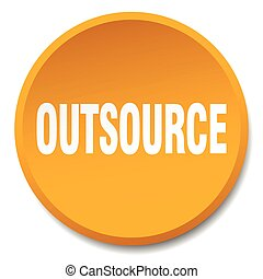 outsource orange round flat isolated push button