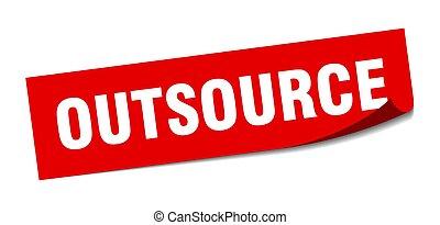 outsource., outsource, éplucheur, signe., sticker., carrée