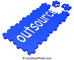 Outsource Puzzle Showing Subcontract And Employment -...
