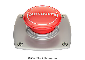 Outsource Red Button, 3D rendering