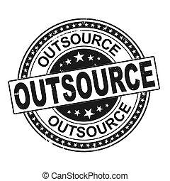 outsource retro round grunge vintage ribbon stamp