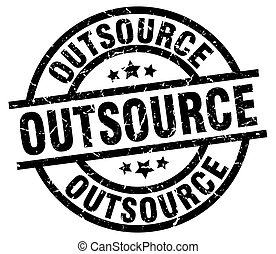 outsource round grunge black stamp