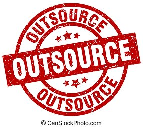 outsource round red grunge stamp