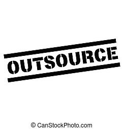 outsource rubber stamp black. Sign, label sticker