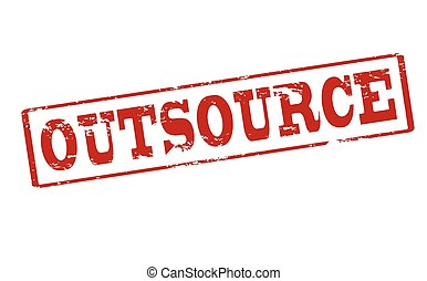 Outsource - Rubber stamp with word outsource inside, vector...