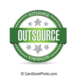 outsource seal stamp illustration design over a white...