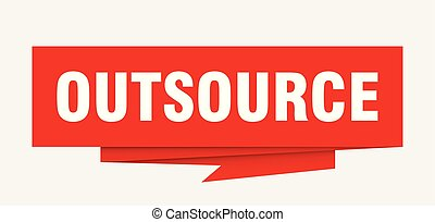 outsource sign. outsource paper origami speech bubble....